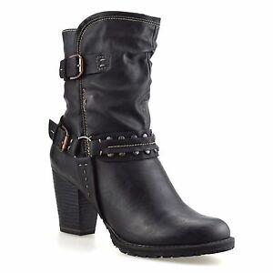 Ladies-Womens-Mid-Block-Heel-Buckle-Zip-Up-Ankle-Cowboy-Biker-Boots-Shoes-Size