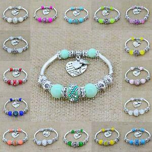 Silver-Heart-Charm-Glass-Beads-Strand-Bracelets-Womens-Europe-Jewelry-Bangles