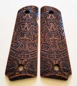 1911-full-size-custom-engraved-walnut-wood-grips-Aztec-Calendar