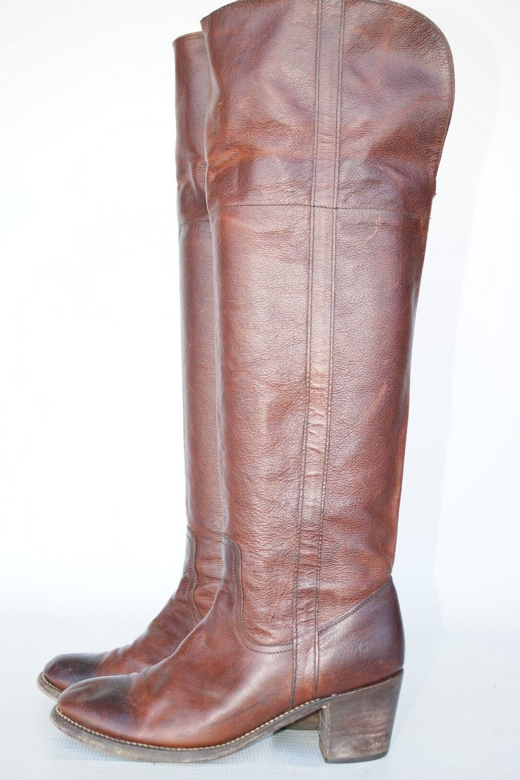 OTK Frye Tall Jane Cuff oiled leather riding boots 9.5 B Beautiful Patina!