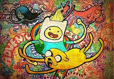 """Adventure Time - With Finn & Jake American TV Series Silk Cloth Poster 20 x 13"""""""