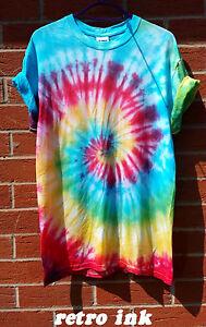 TIE-Dye-t-shirt-SPIRALE-Hipster-Moda-Tye-Die-MAGLIETTA-FESTIVAL-GUAM-ARCOBALENO