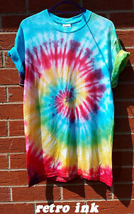 Tie-Dye-camiseta-Prenda-para-el-torso-Camiseta-Hipster-de-Moda-Tye-Die-Camiseta-Festival-Grunge-Arco