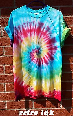 TIE DYE T SHIRT Spiral Hipster Fashion Tye Die Tshirt Festival Grunge Rainbow