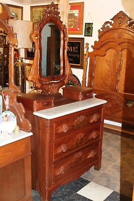 Antique Victorian Marble Top Dresser With Ornate Wishbone Swivel