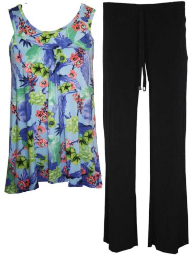New Womens Ladies Plus Size Sleeveless top vest and Trouser Full Suit 12 to 26