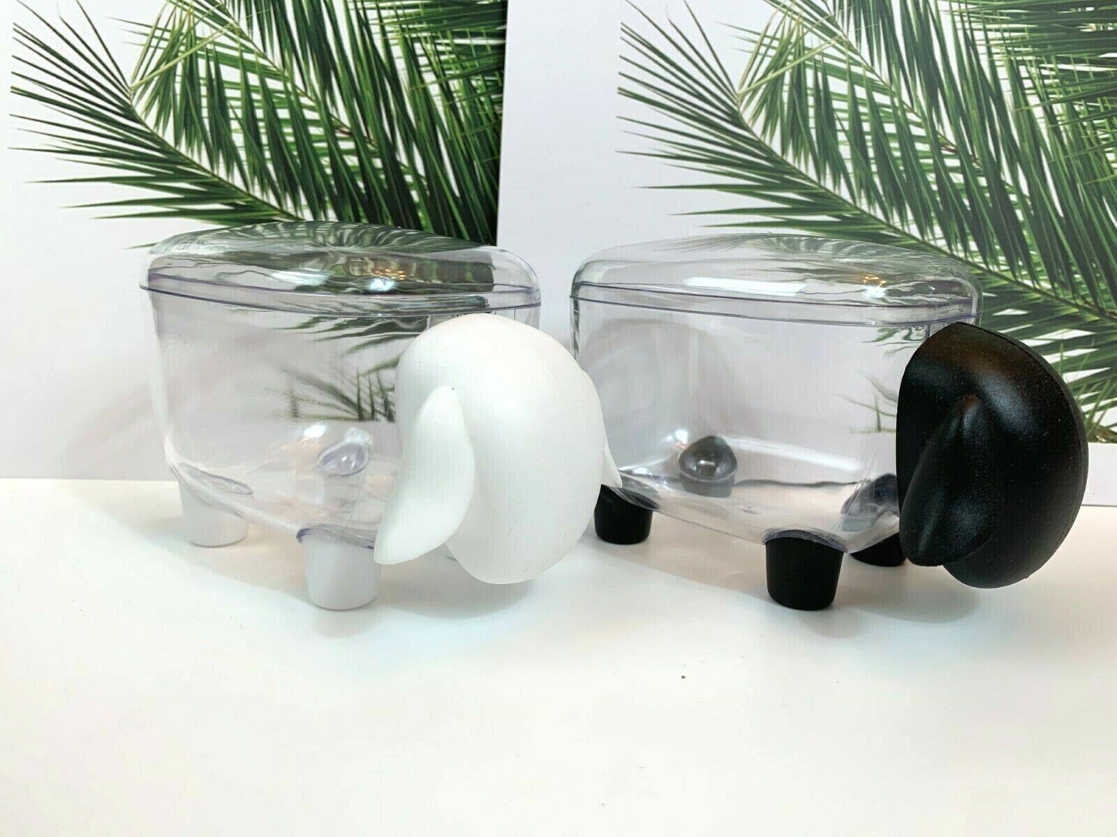 2 sheep-shaped diespenser comtainer boxes for small items(black white)