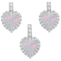 White Fire Opal & Cz Heart .925 Sterling Silver Earring & Pendant Gift Set on sale