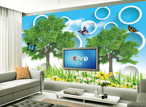 3D Trees Flying Butterfly Paper Wall Print Wall Decal Wall Deco Indoor Murals
