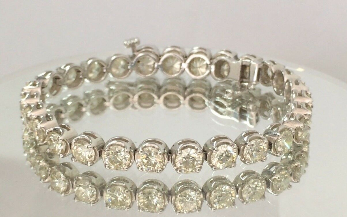 15.00ct ROUND CUT DIAMOND TENNIS BRACELET 14K WHITE gold D SI2 CERTIFIED