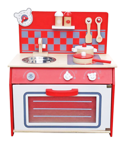 Vintage Kids Girls Red Wooden Kitchen Toy Pretend Role Play Set For