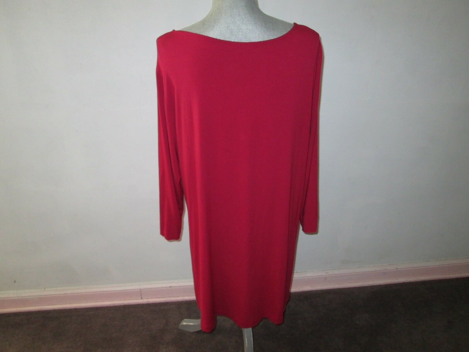 EILEEN FISHER FISHER FISHER Red Stretch JerseyTwist Knot Front 3 4 Sleeve Dress Size 1X b294f0