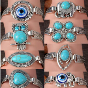 Fashion-Turquoise-Beads-Cuff-Bracelet-Bangle-Chain-Wristband-Women-Girls-Jewelry