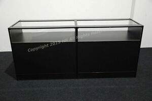 NEW-BLACK-Glass-Shop-counters-FREE-DELIVERY-TOP-QUALITY-SET-OF-2-UNITS