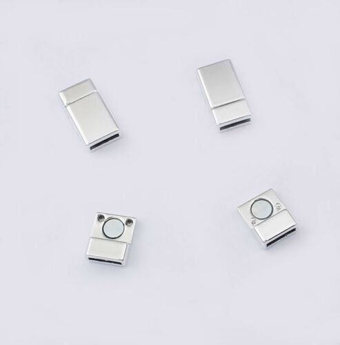 3 Sets Matte Silver Rectangular Flat Magnetic Clasp For 10*2mm Flat Leather Cord