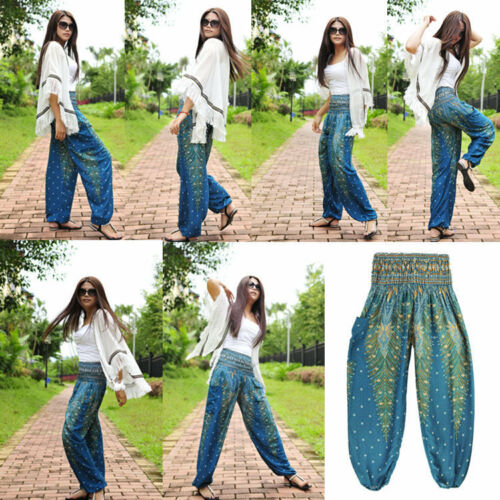 UK Thai Womens Harem Pants Yoga Festival Baggy Hippie Alibaba Hareem Trousers SK