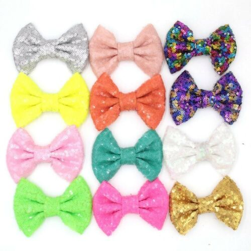 Sequin 4/'/' bow on a clip girls bows UK SELLER