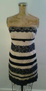 New-NWT-Nanette-Lepore-Skirt-amp-Bustier-Set-Grey-w-Black-Lace-Trim-Stripes-Sz-8