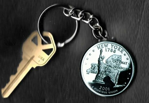 State of NEW YORK Quarter Keychain Key Chain Image is 60/% larger than quarter