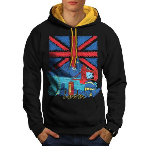 Felpa Black Men oro con Flag cappuccio Inghilterra cappuccio Contrast New Uk London X7xRq