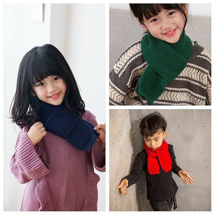 Knitted Baby Boys Girls Scarf Warm Autumn Winter Toddler Scarves Cotton