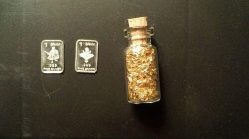 GOLD! #75.5   2  1gr silver bars 1 /& jar of 24kt edible gold leaf !!: