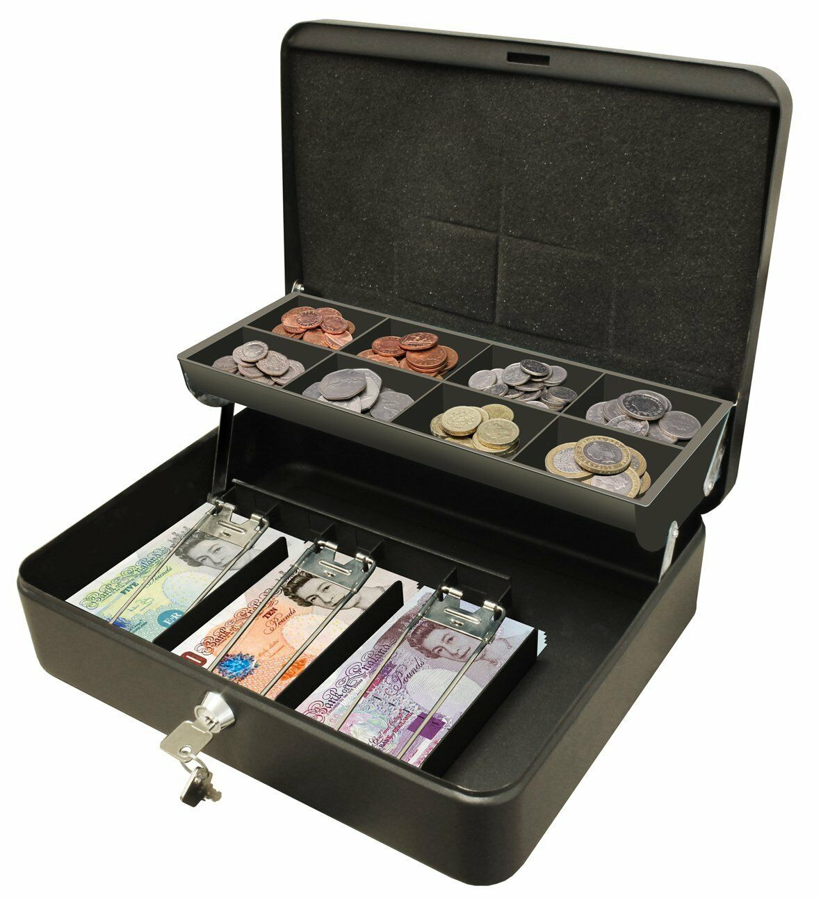 12 petty cash box black metal security money safe tray holder key