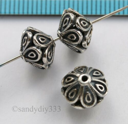 1x BALI STERLING SILVER FLOWER FOCAL BICONE SPACER BEAD 10.2mm 7.9mm #3029