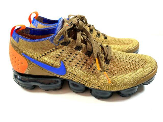 New Nike Air Vapormax Flyknit 2 Golden Beige Racer Blue -Size 10.5 - 942842-203