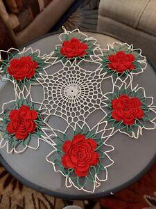 Vintage 3D Roses Hand Crochet Doilie