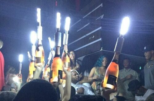 LED STROBE BATON TOPPER GOLD VIP Champagne Bottle Service E-sparkler 3 PACK