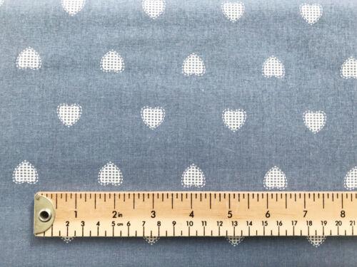 Nordic Scandi Love Heart Print Valentine/'s Fabric 100/% Cotton Cream on Grey