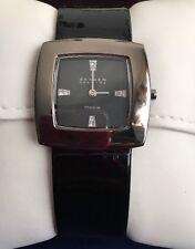Skagen 570STTLB Women's BlacK Titanium Ladies Leather Square Crystals Thin Watch