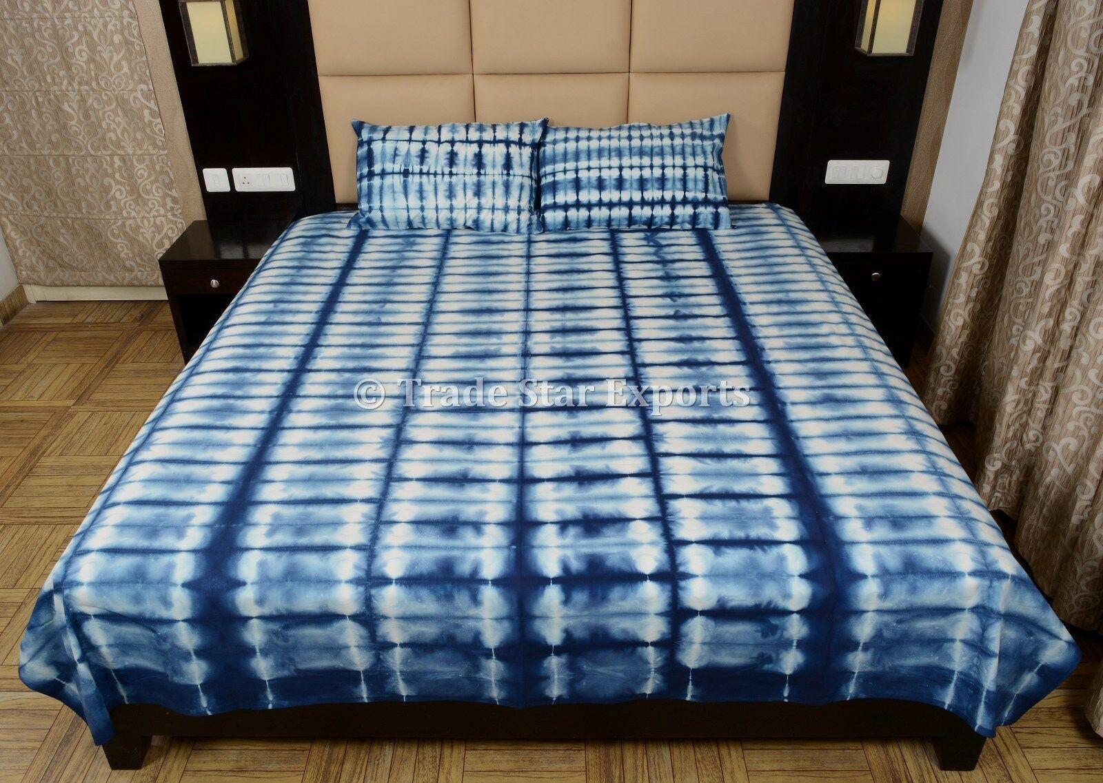 Indigo Tie Dye Shibori Bedspread Handmade Cotton Bedding with Two Pillow Cases