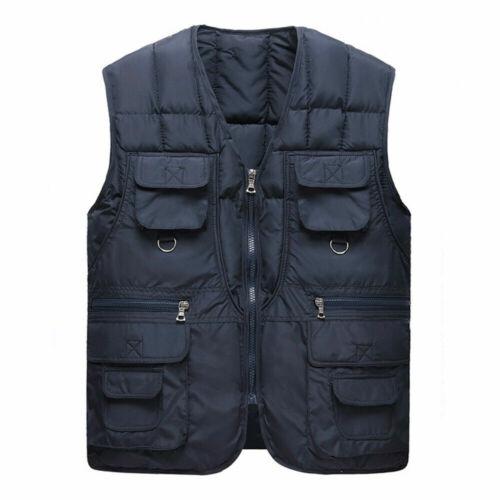 Men Down Cotton Waistcoats Vest Multi Pockets Zipper Warm Fishing Oversized Tops