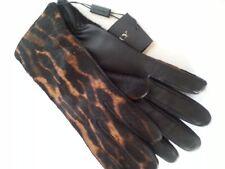 NEW $995 Burberry Prorsum Animal Print Calf Hair Leather Gloves Sz 7.5 Black