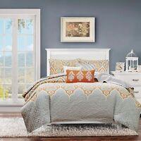 Beautiful Modern Chic Tropical Scroll Bohemian Global Orange Grey Soft Quilt Set