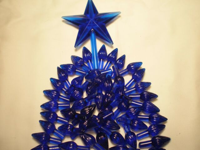 Ceramic Christmas Tree Bulb 50 Royal Blue Medium Twist Lights W Star Special