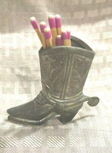 Vtg-Made-in-Japan-Metal-Cowboy-Boot-Match-Toothpick-Holder