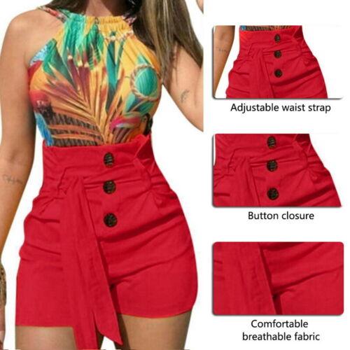 Women Casual High Waist Button Mini Skirts Shorts Stretch Hot Pants Plus Size SH
