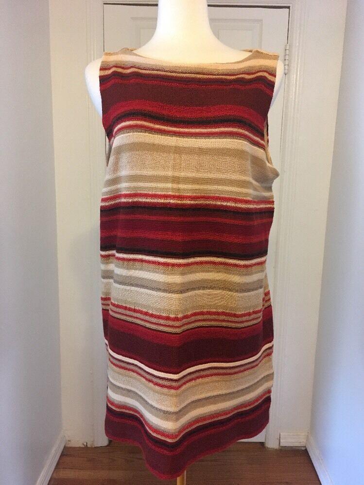 NWT rot & Beige Stripe Ralph Lauren Knit Top Größe 1X