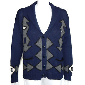 6b7e8c6d8 ALPACA PERU Fabulous Inca Aztec Design Blue Gray Cardigan Sweater ...