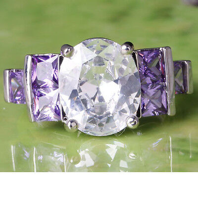 Sublimate Oval Cut White Topaz & Amethyst Gemstone Silver Ring Size 6 7 8 9 10
