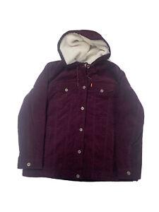 Levi's Women's Corduroy Jacket Sz XL Color Burgundy Polyester Cotton Warm Fleece