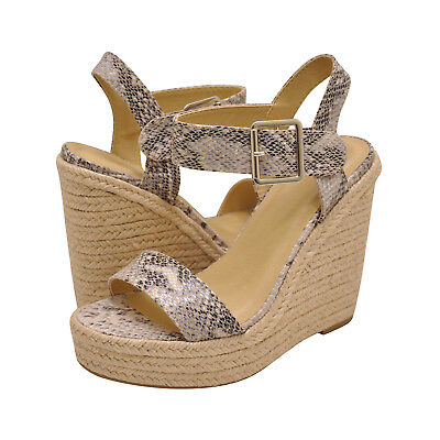 e903bcd6ed4 Women's Shoes Delicious BURST Platform Wedge Espadrille Sandals BEIGE  PYTHON | eBay