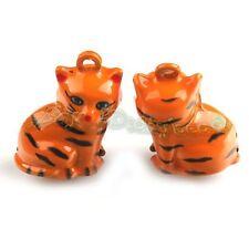 5x Wholesale Charms Orange Cat Jingle Bells Fit Festival Decorative 270143
