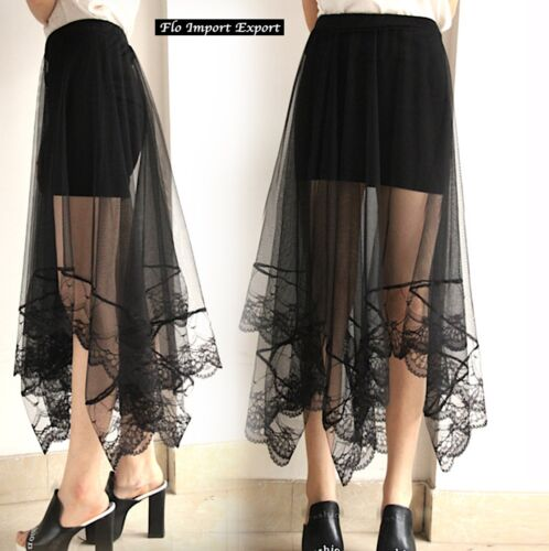 Mini Gonna Donna Tulle Lungo Trasparente e Pizzo Woman Tulle Lace Skirt 130038 P