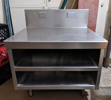Stainless Steel Closed Sided Cabinetequipment Stand 36w With10h Backsplash