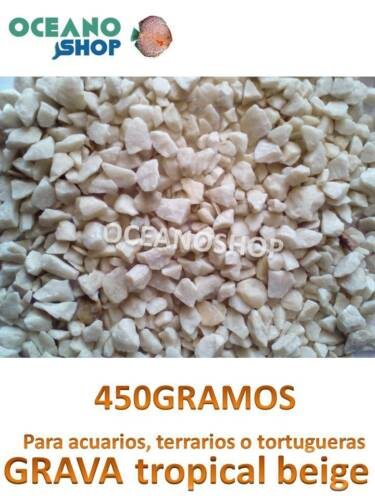 GRAVA 450GR natural decorativa de ACUARIO terrario pecera peces tortuguera 6-8mm