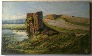 Tableau-Ancien-Impressionnisme-Paysage-au-pont-Huile-sur-toile-Signe-M-S-MARTIN